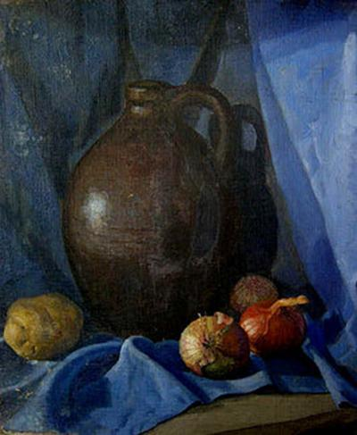 Jirayr Hamparzoom Zorthian Still Life in Blue with Jug and Onions