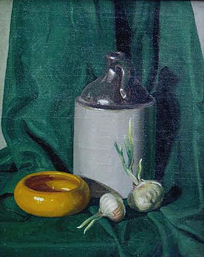 Jirayr Hamparzoom Zorthian Still Life in Green with Jug Bowl and Garlic