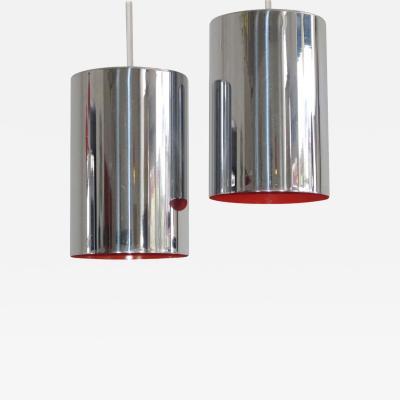 Jo Hammerborg Jo Hammerborg Mid Century Danish Chrome Pendent Lamps