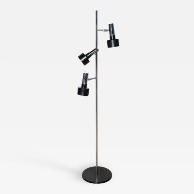 Jo Hammerborg Jo Hammerborg Style Chrome Black Floor Lamp with Three Pivoting Shades