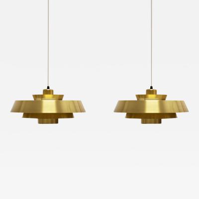 Jo Hammerborg Nova Brass Pendant Light by Jo Hammerborg for Fog M rup 1960s Set of 2