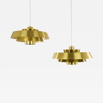 Jo Hammerborg Pair of brass Nova pendants by Jo Hammerborg for Fog M rup 1960s