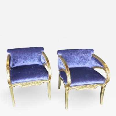 Joan Busquets Pair of Modernismo Giltwood Fauteuils in the Manner of Joan Busquets