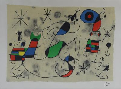 Joan Mir Abstract Lithograph Joan Miro Signed 1960s