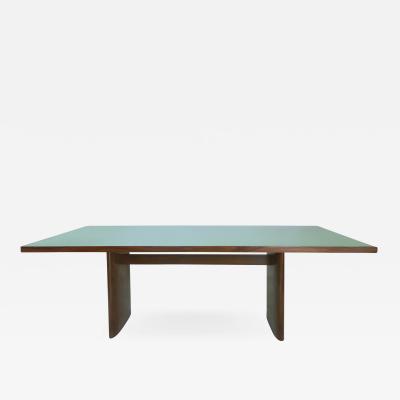 Joaquim Tenreiro Jacaranda Reverse Painted Glass Dining Table by Joaquim Tenreiro Re edition