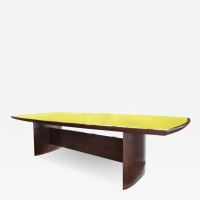 Joaquim Tenreiro Jacaranda Reverse Painted Glass Top Dining Table by Joaquim Tenreiro Re Edition
