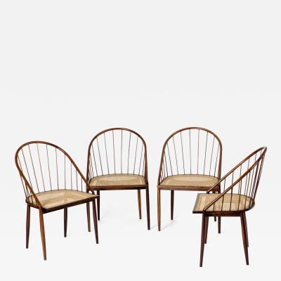 Joaquim Tenreiro Set of Four Curved Dining Chairs by Joaquim Tenreiro Brazil 1960s