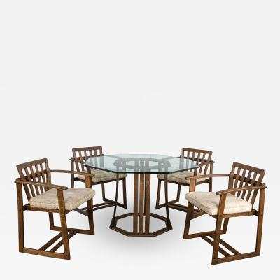 Jobie G Redmond Stavoak dining game table 4 chairs from jack daniels barrel staves by jobie