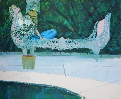 Joe Bowler Reclining Woman with Man in Background