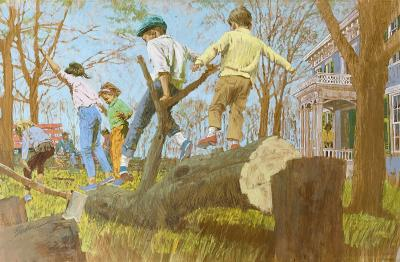 Joe Bowler The Tree Cutters Children Playing on a Fallen Tree Saturday Evening Post