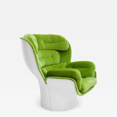 Joe Colombo Joe Colombo Mid Century Modern Green Velvet Elda Italian Lounge Chair