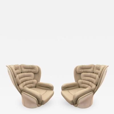 Joe Colombo Pair of Elda Swivel Chairs by Joe Colombo Italy 1963