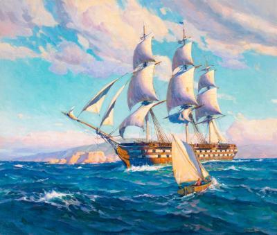 Joe Duncan Gleason Battleship USS OHIO Leaving San Pedro 1849