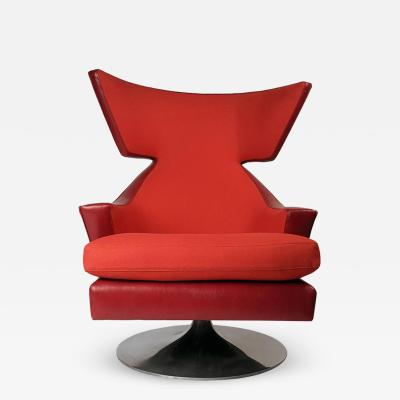 Joe Durso Joe DUrso Leather Wing Back Swivel Lounge Chair for Knoll