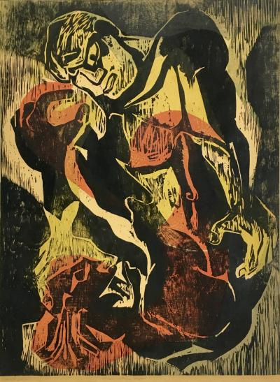 Joe Elliott Joe Elliott Color Woodcut Eternal Internal Conflict