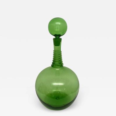 Joel Philip Myers Vintage Green Blenko Myers Decanter w Spiral Wrap 0198