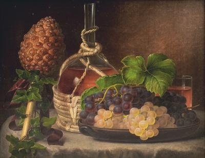 Johan Laurentz Jensen I L JENSEN PAINTING STILL LIFE WITH GRAPES AND WINE ON A TABLE SIGNED