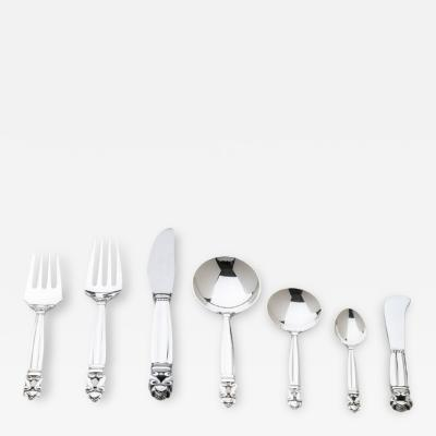 Johan Rohde George Jensen Sterling Silver Seven Piece Place Setting Flatware Service for 12