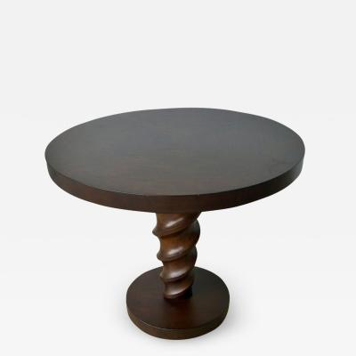 Johan Tapp Signed Mid Century Modern Johan Tapp Mahogany Carved Center Corkscrew Side Table