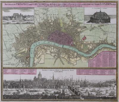 Johann Baptist Homann Plan of London in the reign of Queen Anne