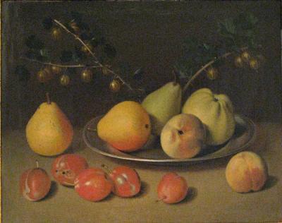 Johann Daniel Bager Still life of Pears Apples and Gooseberries on a Platter Resting on a Ledge
