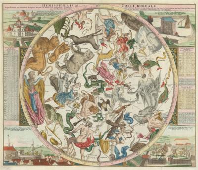 Johann Gabriel Doppelmayr A fine pair of 18th century celestial hemispheres