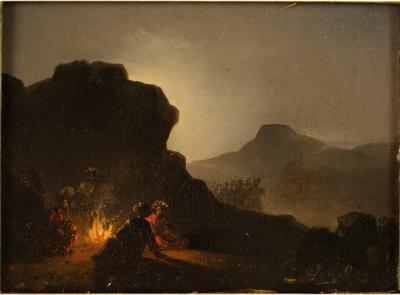 Johann Mongels Culverhouse Johann Mongels Culverhouse DUTCH 1820 1891 Campfire painting