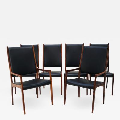 Johannes Andersen 6 Johannes Andersen Danish Modern Dining Chairs Rosewood Mogens Kold Denmark