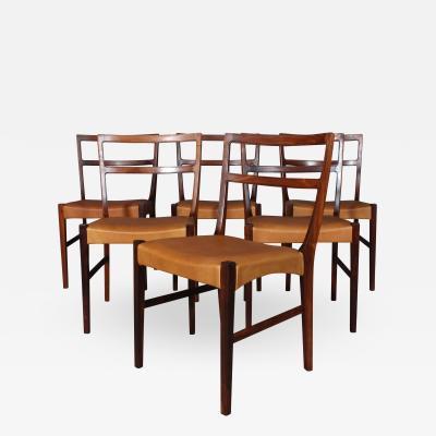 Johannes Andersen Johannes Andersen for Bernhard Pedersen Son Six rosewood chairs 6