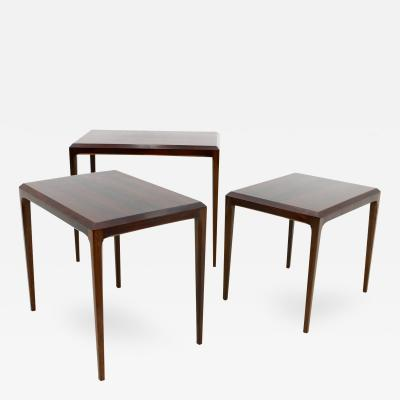 Johannes Andersen Nesting Tables in Rosewood by Johannes Andersen Denmark 1960s