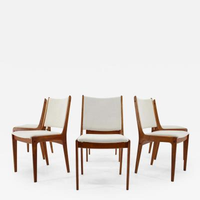 Johannes Andersen Set Of Six Johannes Andersen Teak Dining Chairs By Uldum Mobelfabric 1960s