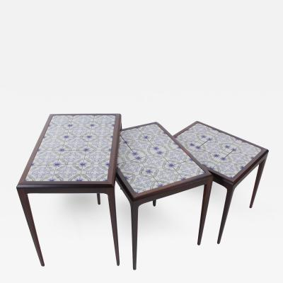 Johannes Andersen Set of Three Scandinavian Modern Rosewood Nesting Tables by Johannes Andersen