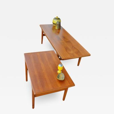 Johannes Andersen Teak Coffee Table Side Table w Shelf by Johannes Andersen w Sultry Curves