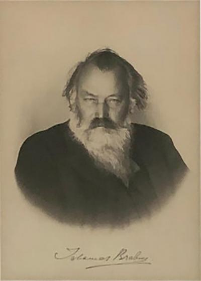 Johannes Brahms Johannes Brahms Composer Historic Hand Autographed in Ink Engraving Etching