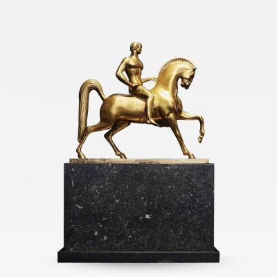Johannes Clausen Bjerg Fine Johannes C Bjerg Gilded Bronze Sculpture circa 1917