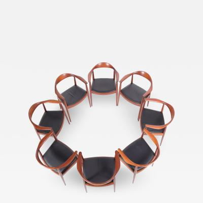 Johannes Hansen Set of Eight Hans Wegner Classic Round Chairs for JH