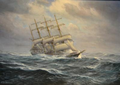 Johannes Holst The Windjammer Pisacua in Rough Seas