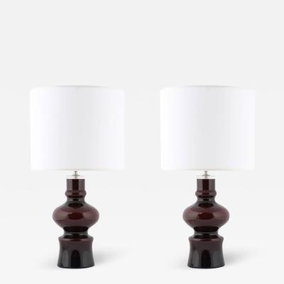 Johansfors Glasbruk Pair of 1960s Brown over Blue Glass Table Lamps by Johansfors Glasbruk of Sweden