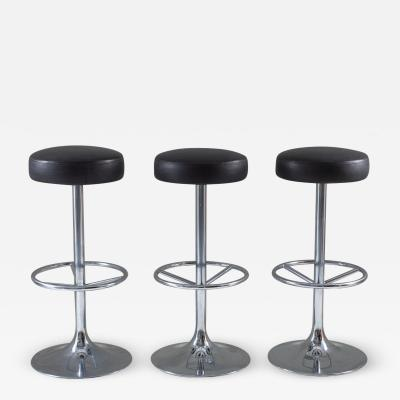 Johanson Design Set of Three Swedish Chrome Bar Stools by Johanson Design
