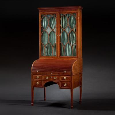 John Aitken Federal Inlaid Mahogany Tambour Cylinder Secretary Bookcase
