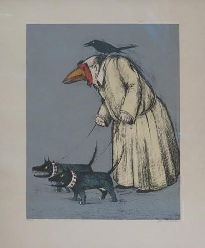 John Alexander Confused Man Walking His Dogs by John Alexander