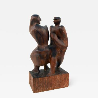John Alfred Begg Hand Carved Walnut Sculpture of Dancers by John Begg