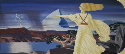 John Atherton Woman in Surreal Landscape Illustration
