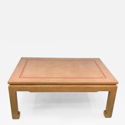 John Auberac SIGNED MODERN GRASSCLOTH TEXTURED COFFEE TABLE