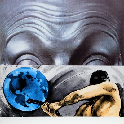 John Baldessari Eyebrows Furrowed Foreheads Figure with Globe