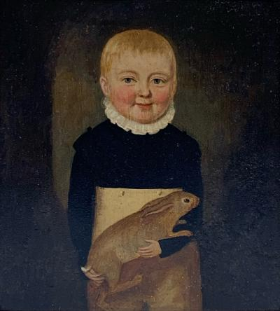 John Brewster Jr Early 19th C Folk Art Portrait of Boy and Rabbit