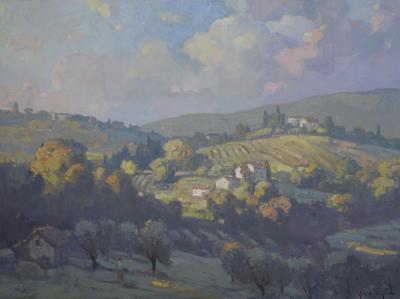 John C Traynor Grassy Hills of Tuscany large transitional contemporary landscape painting