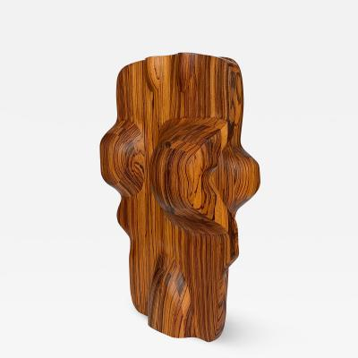 John Campbell Monumental Abstract Carved Zebrawood Sculpture by John Campbell