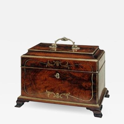 John Channon Rare Antique English Mahogany Brass Inlaid Tea Caddy in the Manner of Channon