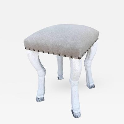 John Dickinson Beige Upholstered Stool with Zoomorphic Legs after John Dickinson